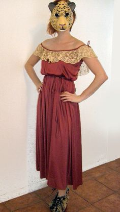 Glamorous 70s boho HIPPIE LACE gown off the shoulder by LENGO28, $26.00
