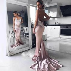 Dressywomen offers high quality Mermaid Spaghetti Straps Backless Long Pink Prom Dress with Appliques, Only $128.99. We have more styles for Evening Dresses.