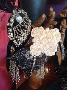 Gatsby Head pieces crafted from original 1920s beading and emroidery. Gorgeous! For sale in store only,