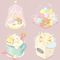 Rilakkuma Wallpaper, Sanrio Wallpaper, Kawaii Drawings, Cute Drawings, Pretty Art, Cute Art, Polymer Clay Kawaii, Kawaii Illustration, Cute Games