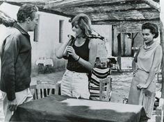 Peter Finch, Melina Mercouri and Romy Schneider in 10:30 P.M. Summer directed by Jules Dassin, 1966