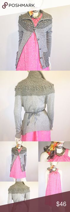 """Small Grey Anthro Cardigan by sleeping on snow Don't think because fall and winter are approaching, you can't wear bright colors!  Like new! Fit small medium, extra buttons, length 23"""", 28% wool, 25% cotton, 25% acrylic, 12% nylon, 8% viscose, 2% camel. Whew! That's a lot of different fabric in one sweater!    Also pictured:   NWOT Trina Turk Small / Medium Lace Dress   Grey & Pink Scarf F҉R҉E҉E҉ with dress!   Price firm unless bundled. Dry clean and ship same day. No trades. Listing is for…"""