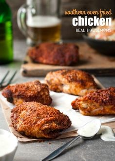 "All the flavour and crunch of Southern fried chicken...but made a whole lot healthier by baking! I love this SOUTHERN OVEN ""FRIED"" CHICKEN!"