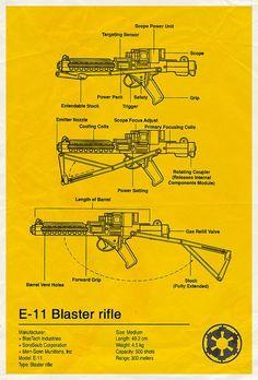Star Wars: E11 Blaster Rifle (Blueprint)   By: Vespertin, via Flickr (#starwars)