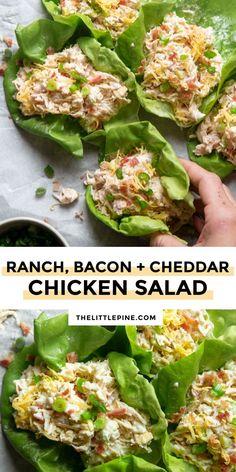Rotisserie Chicken Salad, Chicken Salad Recipes, Healthy Rotisserie Chicken Recipes, Chicken Salad Healthy, Low Calorie Chicken Salad, Diet Recipes, Cooking Recipes, Healthy Recipes, Bacon Recipes Lunch