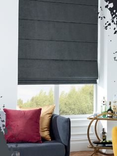 Roman blinds are ideal for living space. With a sense of style, this black roman blind adds a touch of timeless elegance and sophistication to your interiors but without sacrificing on practicality.  Style. Value. Quality. Custom Made Blinds Delivered To Your Door. Save 70% OFF Brick & Mortar Store Prices.  #windowblinds #home #homeinspo #homedecor #homesweethome #interiorstyle #interiordesign #meblinds Black Blinds, Black Curtains, Shades Blinds, Blockout Blinds, Blinds For Windows Living Rooms, Blinds Online, Interior Styling, Interior Design, Window Styles