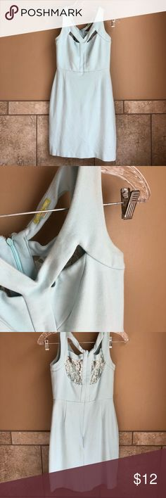 Baby Blue Business Casual Dress Baby blue in color, zip up back with lace, 2 key hole slant cut outs in the front, knee length. (Worn once to church) Gianni Bini Dresses Midi