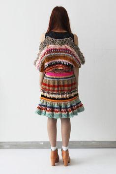 Fashion, Textile, and Print Designer Form Crochet, Hand Crochet, Crochet Lace, Crochet Crafts, Knitwear Fashion, Crochet Fashion, Quirky Fashion, Fashion Design Sketches, Knit Skirt