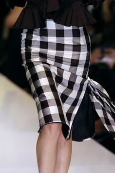Black and white checked skirt and jacket