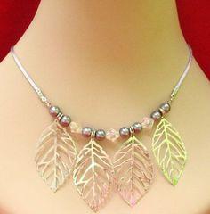 Silver Skeleton Leaves Necklace