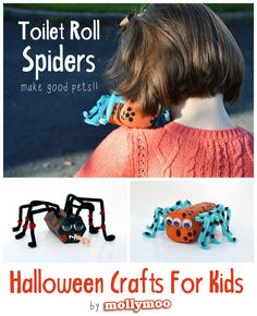 Quick and fun halloween crafts for kids: toilet roll and cardboard tube spiders - all you need is paint, pipe cleaners and googly eyes to create cute or scary spider characters. Halloween Crafts For Kids, Halloween Activities, Cute Halloween, Holidays Halloween, Halloween Themes, Holiday Crafts, Holiday Fun, Fun Crafts, Halloween Decorations