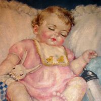 A charming original oil on canvas....Child Sleeping with Toy Rabbit