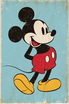 classic mickey mouse cartoons | Dettagli su Mickey Mouse Retro Poster - blue background -vintage-style ...