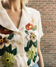 Upcycled blouse with florals 🌺 Hand Embroidery Flowers, Embroidery On Clothes, Shirt Embroidery, Embroidered Clothes, Embroidery Fashion, Vintage Embroidery, Floral Embroidery, Embroidery Patterns, Clothing And Textile