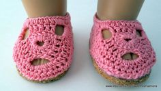 American Girl Pink Crocheted Shoes by SweetPeaFashions on Etsy, $8.50