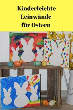 Zu Ostern Leinwände mit Fingerfarben bemalen. Eine kinderleichte Idee für die kreative Familienzeit. Mit süßen Hasen. / Bunnys on Canvas, easy  easter DIY for Kids