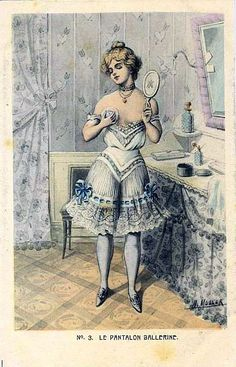 Vintage fashion illustration or perhaps naughty postcard showing a Belle Epoque lady in her enticing undergarments. Edwardian Clothing, Edwardian Fashion, Historical Clothing, Vintage Fashion, Moda Retro, Gibson Girl, Victorian Women, Vintage Lingerie, Fashion Plates