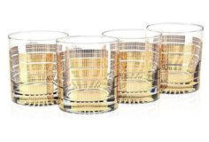 S/4 22Kt Gold Glasses, Striped   One Kings Lane