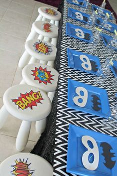 Decorated table at a superhero birthday party! See more party ideas at CatchMyParty.com!
