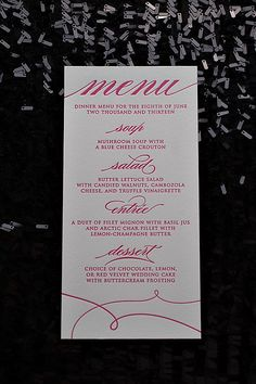 EXTRAS // Menus for Any Suite!