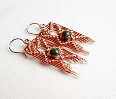 Wire Wrapped Earrings with Jade Copper por SimplyWireWrapped