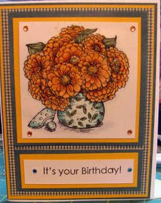 Zinna's from Flourishes stamps