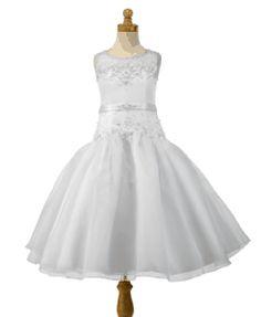 Christie Helene Signature Communion Dress - P1145 - A - Line White satin, sheer illusion beaded neckline, full organza skirt ballerina length First Holy Communion Dress - UK Supplier Ascot