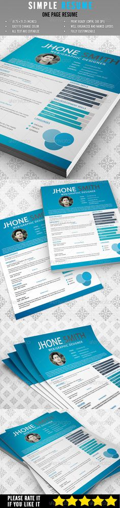 Resume Bundle 4 in 1 by Mehrographix on @creativework247 Resume - simple one page resume template
