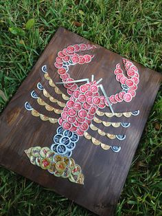 "Lobster Beer Cap Art, Signed Original, 18"" x 12"""