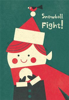 Elf Snowbal Fight! Awesome Christmas card illustration by Steve Mack. Who rules.