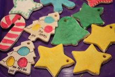 Salt Dough Ornaments...2 cups of flour, 1 cup of salt, 1 cup of warm water, bake 4-6 hours at 200 degrees