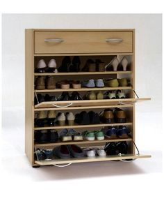 Incroyable Large Beech Finish Wood Shoe Cabinet Storage Unit With Drawer And Two  Compartments [for Up To 24 Pairs Of Shoes] By DMF