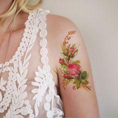 Vintage floral temporary tattoo
