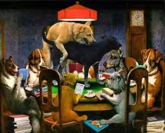 Painting of michael vick playing poker with dogs play aristocrat slots online free