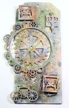 Mixed Media Altered Tag With Mossy Color For SaCrafters (Start-to-Finish)