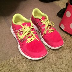 Nike Free Runs 5.0 Only worn a few times, bright pink and yellow! Super comfy I just have to many pairs of these shoes! Size 7.5, true to size Nike Shoes Athletic Shoes
