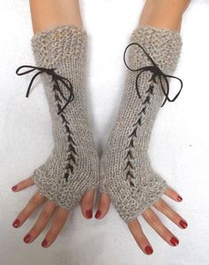 Items similar to Fingerless Gloves Light Brown Grey Beige Corset Wrist Warmers with BrownSuede Ribbons Victorian Style on Etsy Grey And Beige, Brown And Grey, Fingerless Gloves Knitted, Wrist Warmers, Style And Grace, Victorian Fashion, Crochet Projects, Cute Outfits, Ribbons