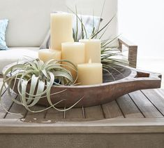 Trendy ideas for kitchen table centerpiece bowl pottery barn Table Centerpieces For Home, Dinning Table Centerpiece, Kitchen Island Centerpiece, Diy Table, Centerpiece Ideas, Wood Table, Succulent Bowls, Succulents, Decorating Coffee Tables