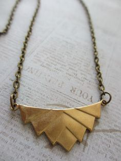 Chevron+Geometric+Necklace++Antique+Gold+by+BrassBirdJewelry,+$18.00