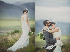 A bride's dress with the beautiful mountain background - Snæfellsnes, Ísland - Intimate Iceland Wedding: Kathleen + Steven