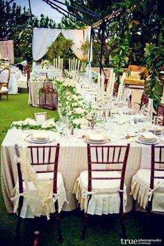 Interesting table layout for outdoor wedding reception - Best Wedding Reception Seating Layouts ❤ See more: http://www.weddingforward.com/best-wedding-reception-seating-layouts/ #wedding #bride
