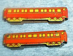 2pc. Vintage '30's CRACKER JACK Premium,  small, Tin Litho Passenger TRAIN Cars, one Vg. one Exc., same style, No Engine. by brotoys1 on Etsy