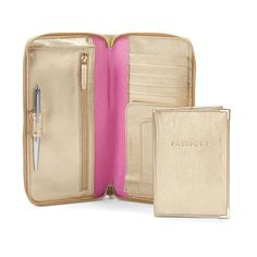 Zipped Travel Wallet with Passport Cover in Metallic Gold Nappa from Aspinal of London