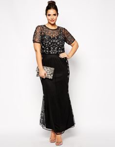 asos curve at asos RED CARPET Pretty Embellished Maxi Dress