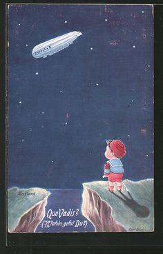 carte postale ancienne: CPA Illustrateur Carl Diehl: Junge als franz. Soldat sieht einen dirigeable nach England fliegen