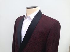 Men's Vintage 1960's Red Brocade Tux Tuxedo Shawl by fourBvintage