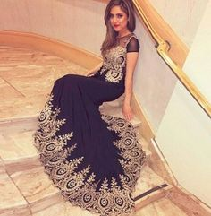 0b9cfbd0fa Arabic Robe De Soiree Sexy Sheer Gold Lace Appliques Evening Dresses 2017  See Through Short Sleeve Long Party Dress Custom Made