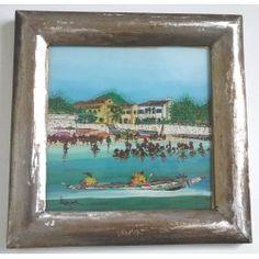 """Peinture sous-verre """"Paysage Mer """""""