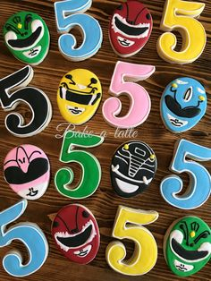 Power Rangers birthday cookies by Bakealatte.  www.facebook.com/Bakealatte