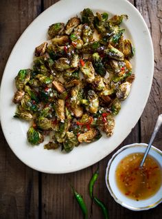 Fried Crispy Brussels Sprouts with Mom's Sweet Chili Fish Sauce Dip from White On Rice Couple